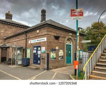 ABERGAVENNY, WALES - OCTOBER 2018:  Entrance to Abergavenny railway station.