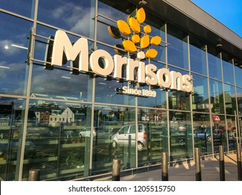 ABERGAVENNY, WALES - OCTOBER 2018: Exterior view of the front of the Morrisons supermarket in Abergavenny town centre.