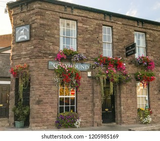 ABERGAVENNY, WALES - OCTOBER 2018: The Greyhound public house in Abergavenny town centre.