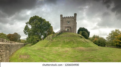 ABERGAVENNY, WALES - OCTOBER 2018: Panoramic view of the keep of Abergavenny castle. It now houses the town's museum.