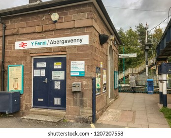 ABERGAVENNY, WALES - OCTOBER 2018: Part of the station building at Abergavenny railway station and entrance to the platform.