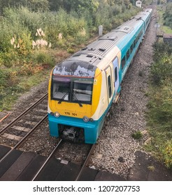 ABERGAVENNY, WALES - OCTOBER 2018: Passenger train approaching Abergavenny railway station.