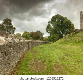 ABERGAVENNY, WALES - OCTOBER 2018: Perimeter wall around the grounds of Abergavenny castle.