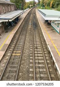 ABERGAVENNY, WALES - OCTOBER 2018: Platforms and track in Abergavenny railway station.