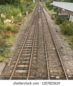 ABERGAVENNY, WALES - OCTOBER 2018: Railway line in rural area approaching Abergavenny railway station.