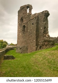 ABERGAVENNY, WALES - OCTOBER 2018: Ruins of the four storey tower in the grounds of Abergavenny castle.