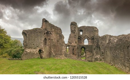 ABERGAVENNY, WALES - OCTOBER 2018: Wide angle view of the ruins of the curtain wall and the four storey tower of Abergavenny castle.