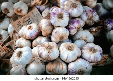 Abergavenny, Wales, UK - CIRCA AUGUST 2015: Garlic on display at a market stall in Wales.