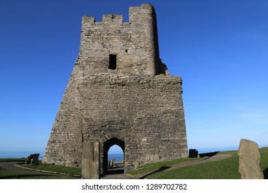 Aberystwyth, Ceredigion, Wales,  January 9, 2019.  The remains of the north tower gateway at the Castle.