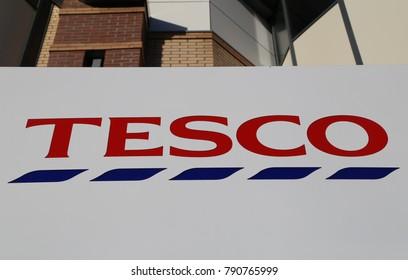 Aberystwyth, Ceredigion, Wales, UK. 10 January 2018.  Tesco Store Sign
