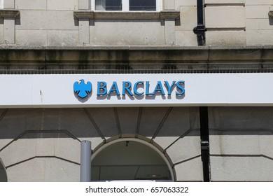 Aberystwyth, Ceredigion, Wales, UK.  9 June 2017. Barclays Bank company logo.
