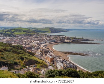 Aberystwyth, Ceredigion, Wales, UK. July 4th 2017. View of aberystwyth town from the top of constitution hill, Aberystwyth, Wales, UK