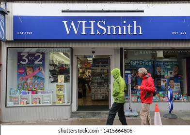 Aberystwyth, Ceredigion, Wales, UK.  June 4, 2019.  The W H Smith newsagents in the main shopping centre.