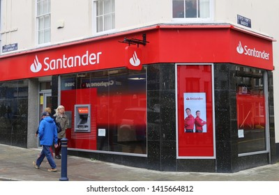 Aberystwyth, Ceredigion, Wales, UK.  June 4, 2019.  The Santander Bank in the main shopping street.