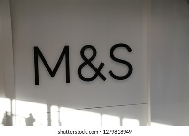 Aberystwyth, Ceredigion, Wales, UK.  A large M&S sign above the Marks and Spencer store.