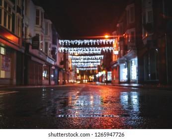 Aberystwyth christmas lights on a wet night