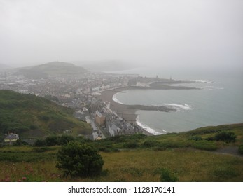Aberystwyth, Wales on 07.07.2010: The city of Aberystwyth on a grey and rainy day