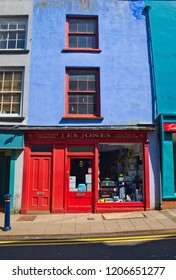 Aberystwyth, Wales UK: April 23, 2018: Colorful houses and stores of Aberystwyth