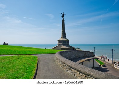 Aberystwyth, Wales UK: April 23, 2018: Sunny day in the park near the old castle of Aberystwyth