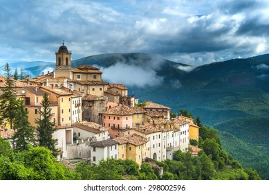Abeto small town with beautiful views of the mountains and gorges in Umbria, Italy