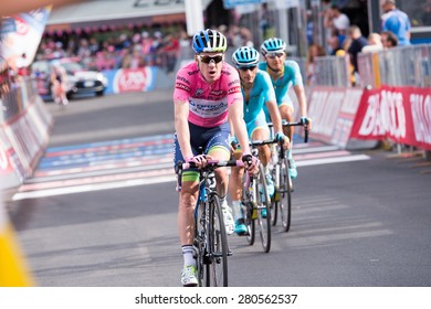 "Abetone, Italy - May 13,2015: Clarke Simon, pink jersey at the arrival 5th stage of ""Giro d'Italia"""