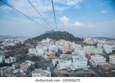 Abha green mountain cable car saudi arabia city skyline cityscape landscape