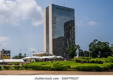 ABIDJAN, CÔTE D'IVOIRE - October 21, 2017: View of Centre de Commerce International d'Abidjan (CCIA, Abidjan International Business Center) as seen from St. Paul's Cathedral.