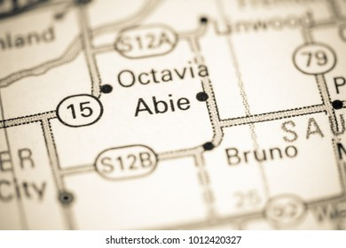 Abie. Nebraska. USA on a map.