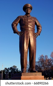ABILENE, KS - NOVEMBER 26: A bronze statue of Dwight D. Eisenhower in his WWII jacket by Robert L. Dean, Jr. is on the grounds of the Presidential Library and Museum, November 26, 2010 in Abilene, KS.