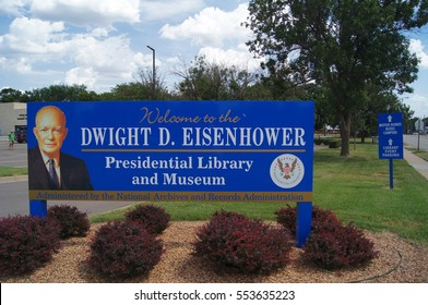 ABILENE, KS/USA: JUNE 30, 2015 â?? Entry sign at Dwight D. Eisenhower Presidential Library and Museum. The national landmark is the final resting place of Eisenhower the 34th President of USA.