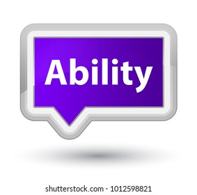 Ability isolated on prime purple banner button abstract illustration