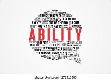 ABILITY word on speech bubble with white background color