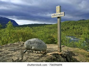 ABISKO, LAPLAND, SWEDEN ON AUGUST 31. View of a guidance along The Dag Hammarsköld pilgrims trail on August 31, 2009 in Abisko, Lapland, Sweden.