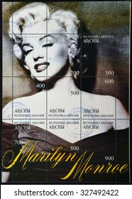 ABKHAZIA - CIRCA 1999: A stamp printed in Abkhazia (Georgia) shows Marilyn Monroe, circa 1999