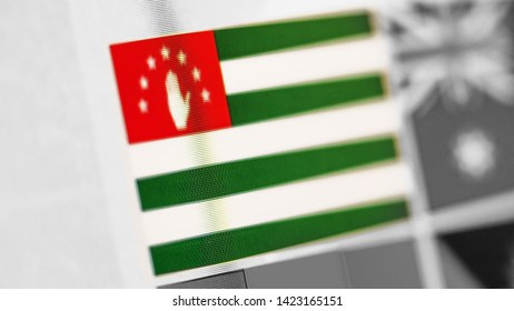 Abkhazia national flag of country. Abkhazia flag on the display, a digital moire effect. News of geography and geopolitics
