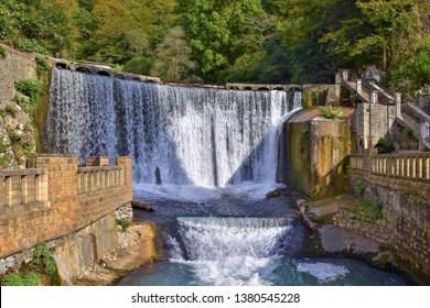 Abkhazia, New Athos or Akhali Atoni, giant waterfall, early fall, ancient buildings