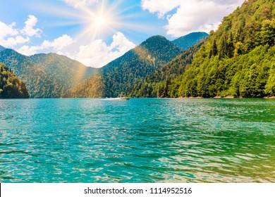Abkhazia. Riza lake.  Mountain lake
