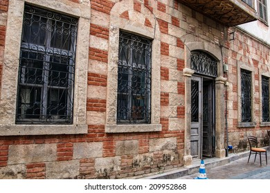 Ablaq style brick and concrete wall and windows  in the old city of  Antalya,  Turkey