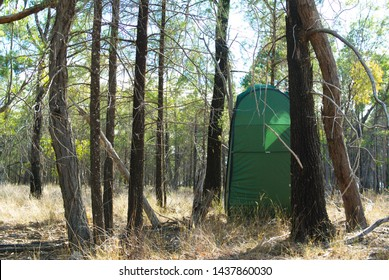 Ablution tent in a bushland camping site provides privacy on a temporary basis for outdoor leisure, and can also be a hide for wildlife observation.