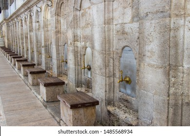 Ablutions section for men at Fatih Mosque in Istanbul