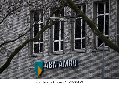 An ABN Amro sign is seen outside a branch in Rotterdam, Netherlands on Apr. 14, 2018