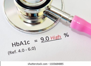 Abnormal high HbA1c test result with stethoscope, diabetes diagnosis