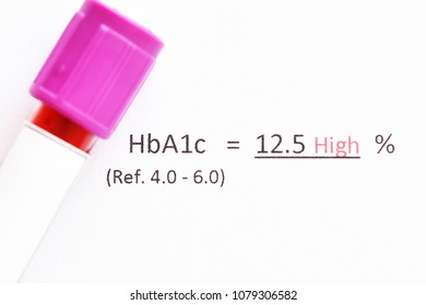 Abnormal high level HbA1c test result with blood sample