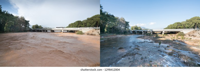 Abnormal rainy weather, storm is post- flood, overflowing stream after heavy rain. Flood area and Climate change. Comparative two photos, January 2019 Antalya / TURKEY