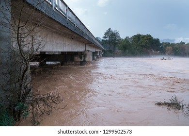 Abnormal rainy weather, storm is post- flood, overflowing stream after heavy rain. Flood area and Climate change. January 2019 Antalya / TURKEY
