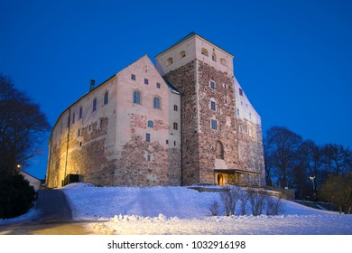 Abo castle in the February twilight. Turku, Finland