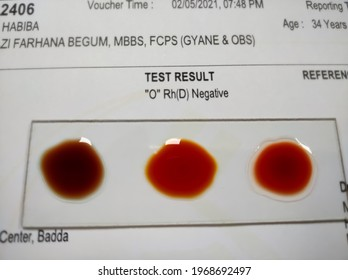 "ABO and Rh typing blood grouping by slide test techinque with report.""O"" Negative group"