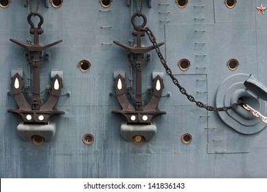 Aboard the legendary cruiser Aurora with anchors.