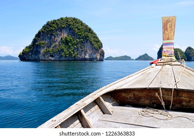 Aboard a long tail boat between Koh Hong and Koh Lading in the Phang Nga Bay, Thailand