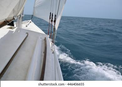 Aboard a sailboat on the sea